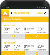 candidate timesheet app